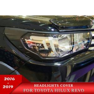 Bộ ốp viền đèn pha Toyota Hilux đen cao cấp
